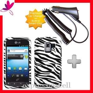 Charger + ZEBRA Hard Case Cover for Straight Talk NET 10 LG OPTIMUS Q