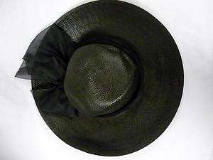 VINTAGE LADIES ARLIN FAUX STRAW HAT BLACK WIDE BRIM CHIFFON BOW