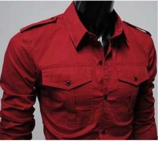 Fashion badges dual  pocket design Mens Casual Slim Fit Stylish Dress
