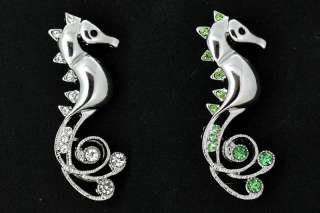 Clear, Green Swarovski Crystal Sea Horse Pin Brooch