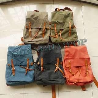 18 Thick Canvas Rucksack Backpack Shoulder Bag Travel Retro Faux