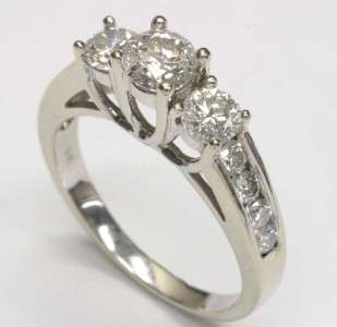 BRILLIANT CUT DIAMOND ENGAGEMENT 3 STONE RING 14K WHITE GOLD