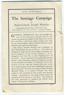 prospectus @ CONFEDERATE GEN. JOE WHEELER Spanish American War book