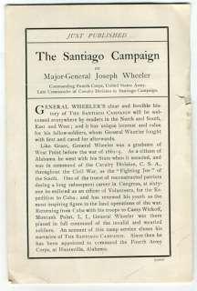 prospectus @ CONFEDERATE GEN. JOE WHEELER Spanish American War book