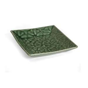 Ceramic Green Plate Square   Flower Claymation Plate