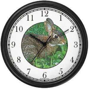 Cottontail Bunny Rabbit Wall Clock by WatchBuddy Timepieces (Hunter