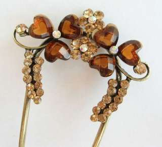 SWAROVSKI CRYSTAL BRONZE FLOWER HAIR STICK PIN PICK 475 FREE SHIP
