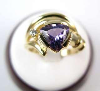 Ladies 14K Gold Trillion Amethyst Diamond Ring 1.45ctw.