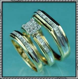 NEW 14K GOLD GENUINE DIAMOND WEDDING RING TRIO SET