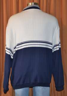 SLEEVE BEIGE BLUE COTTON PULLOVER SWEATER POLO SHIRT MENS 8 XXL