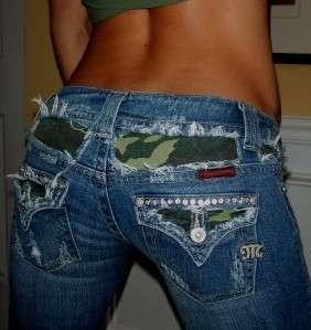by Mek CRYSTAL Studs CAMO Flap Pkt BOOTCUT Jeans sz 26 x 32 EUC