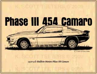 1970 1/2 Chevy Baldwin Motion 454 Phase III Camaro Musclecar Print
