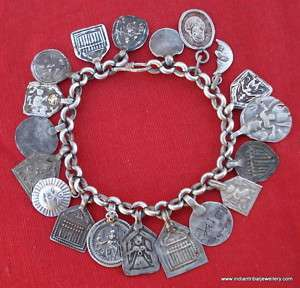 VINTAGE ANTIQUE TRIBAL OLD SILVER CHARM BRACELET AMULET