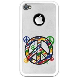 iPhone 4 or 4S Clear Case White Peace Symbol Sign Dripping