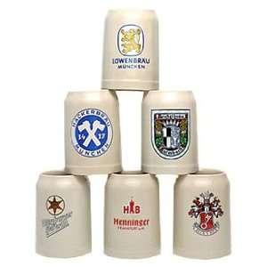 Assorted 0.5 Liter German Brewery Ceramic Stein, Set of 6