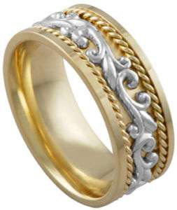 14K Two Tone Gold Hand Carved Paisley Wedding Band Ring