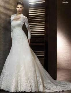 long sleeves white lace wedding bridal Dress gown zipper back Size