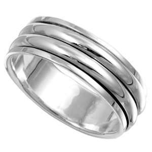 Sterling Silver Spinner Ring   8mm Band Width   Size: 8 13
