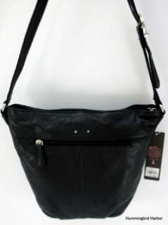 Stone Mountain Black Leather Stud Bucket Shoulder Bag Purse NWT $166