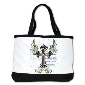 Bag Purse (2 Sided) Black Scriped Winged Cross