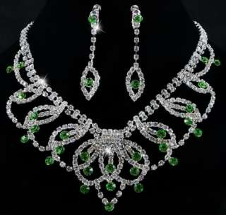 GREEN Leaves Bib Czech Rhinestone Crystal Clear Necklace Earrings 1set