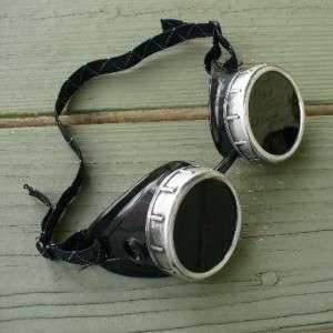 Steampunk Goggles Glasses cyber lens goth black silver