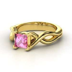 Twist Ring, Princess Pink Sapphire 14K Yellow Gold Ring Jewelry