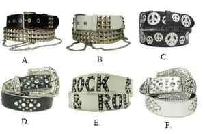 Various Adult Fashion Belts Studs and Rhinestones 10% off (see details