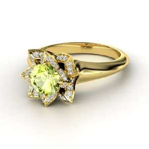 Lotus Ring, Round Peridot 18K Yellow Gold Ring with