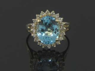 VINTAGE 14K GENUINE BLUE TOPAZ & DIAMOND COCKTAIL RING
