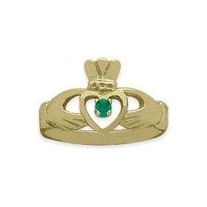 Ladies 10 Karat Yellow Gold Peridot Claddagh Ring   7 Jewelry