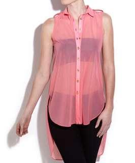 Coral (Orange) Innocence Coral Sleeveless Dip Back Shirt  249928183