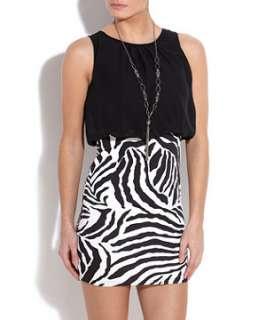 Black Pattern (Black) Mizumi Zebra Print 2 in 1 Dress  253166709