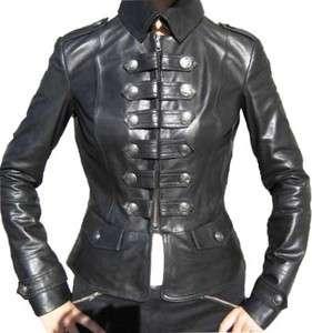 Ladies Womens Black Chic Trendy Military Lambskin Jacket, BUTTER SOFT