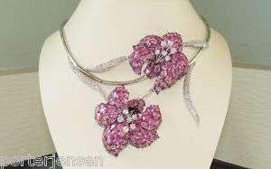 Vintage 18k WG Pink Sapphire & Diamond Lilly Necklace
