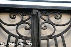ART DECO FRENCH WROUGHT IRON GATE WITH FRAME/TRANSOM
