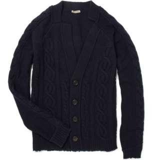 Clothing  Knitwear  Cardigans  Asymmetric Cable Knit Cardigan