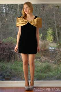 Vtg 80s Huge Gold Origami Bow Avant Garde Black Velvet Mini Cocktail