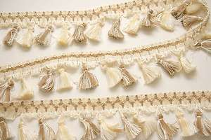 High Quality Tassel Fringe Trim Ivory and Light Brown