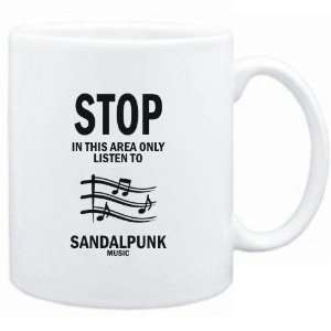 Mug White  STOP   In this area only listen to Sandalpunk