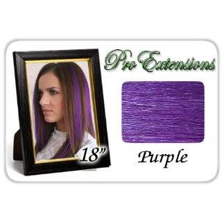 18 Inch Purple Highlight Streaks Pro Extensions Premier Human Hair