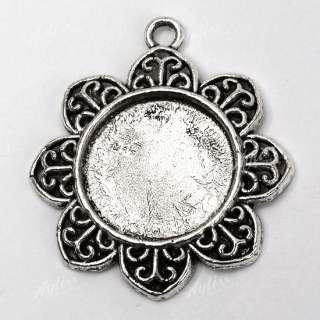 5X Tibetan Silver Flower Round Photo Frame Pendant Bead