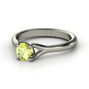 Cynthia Ring, Round Peridot 14K White Gold Ring Jewelry