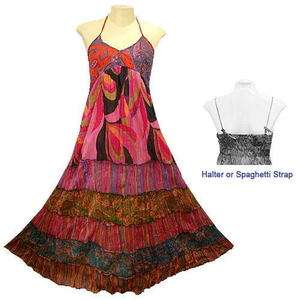 BOHO/HIPPY/GYPSY COTTON HALTER TIER LONG DRESS   YM66