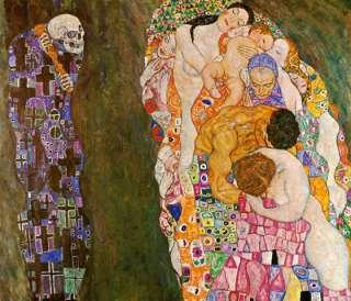 PEOPLE DEATH LIFE BY GUSTAV KLIMT CANVAS REPRO MEDIUM