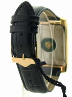Croton Black Leather Strap Rose Gold Tone or Yellow Gold Tone Dial