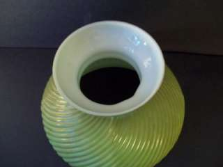 VINTAGE GREEN SWIRL MILK GLASS LAMP LIGHT FIXTURE SHADE GLOBE
