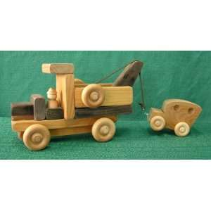 Handmade Wood Toy Tow Truck with Car Toys & Games