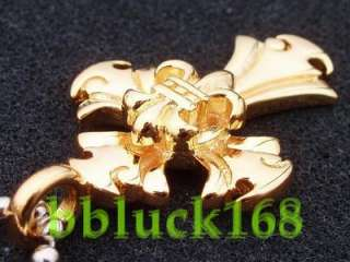 CROSS FLEUR DE LIS 18K GOLD PLATED PENDANT NEW RARE