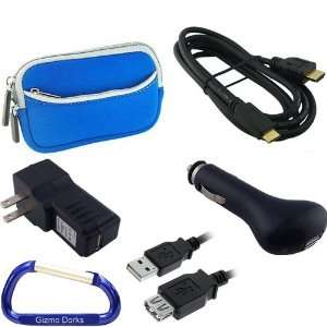 Travel Kit Neoprene Dual Pocket Zipper Case (Blue), Mini HDMI Type